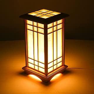 Style wei Ywyun Alto Brillo LED lámparas de bajo Consumo, lámparas de Estilo japonés de Madera, Creativa decoración del Dormitorio Sala de Estar lámpara de Mesa de Noche Europea (Color : Warm Light)