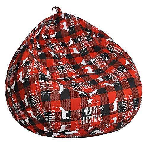 SANMADROLA Christmas Pattern Stuffed Animal Storage Bean Bag Chair Cover(No Filler) for Kids.Premium Cotton Canvas Stuffable Zipper Beanbag for Organizing Children Plush Toys Small 100L (Christmas01)