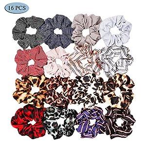 16 Pack Leopard Hair Scrunchies Scrunchies Elastic Rubber Band Hair Rope Bobbles Hair Ties