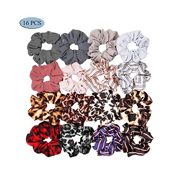 16 Pack Leopard Hair Scrunchies Scrunchies Elastic Rubber Band Hair Rope Bobbles Hair Ties 3