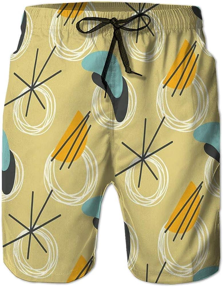 Pantalones Cortos de Verano para Hombre Pantalones Cortos Casuales Mediados de Siglo Moderno Mediados de Siglo Moderno Estilo Vintage atómico Retro Refrescante