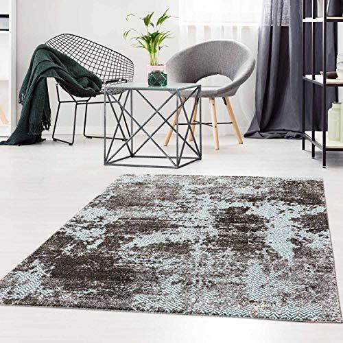 Teppich Flachflor modern mit Chevron-Muster im Vintage-Look in Blau Wohnzimmer Größe 190/280 cm