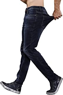 Jean for Men Slim Fit Stretch Sits at Waist Pants Elastic Waist Trousers 5-Pockets