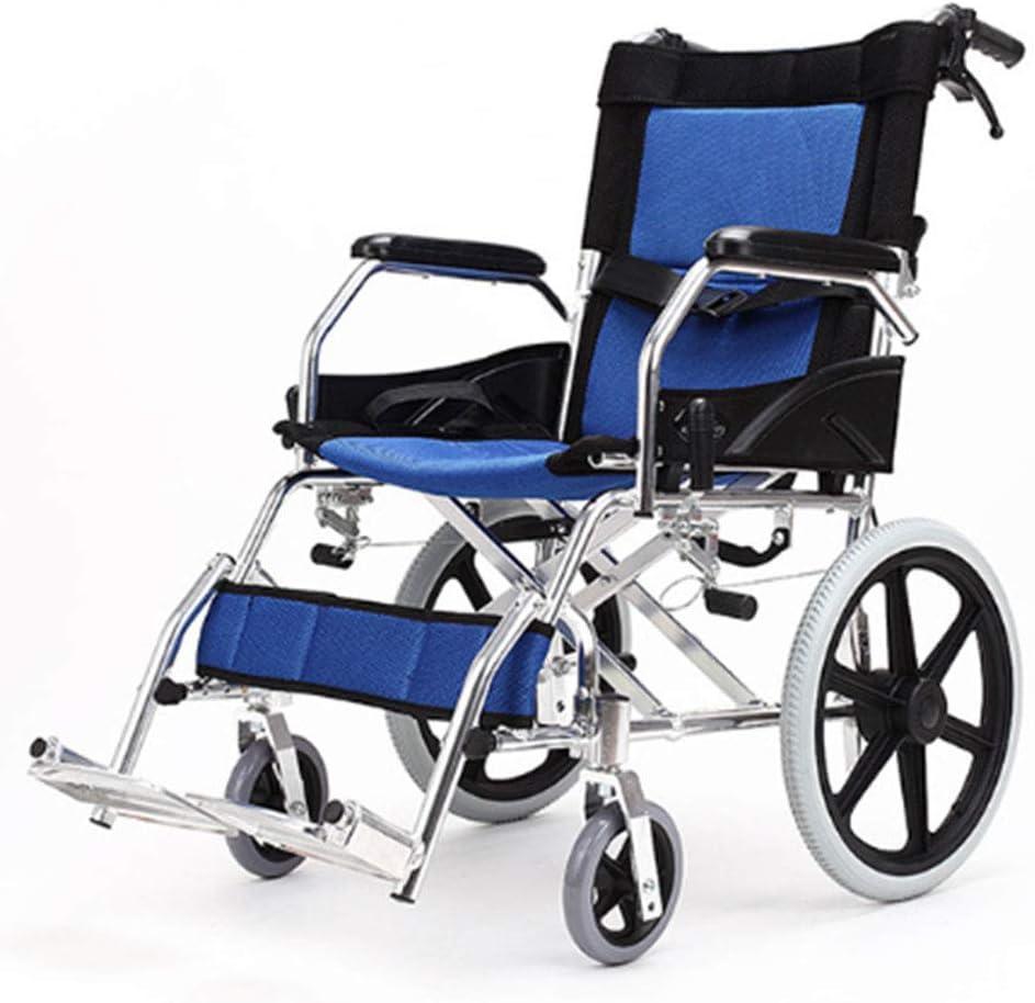 IREANJ Silla de rehabilitación médica, silla de ruedas, silla de ruedas plegable de peso ligero de conducción médica, sillón de ruedas mayor portátil de coches con la carretilla de edad avanzada con s