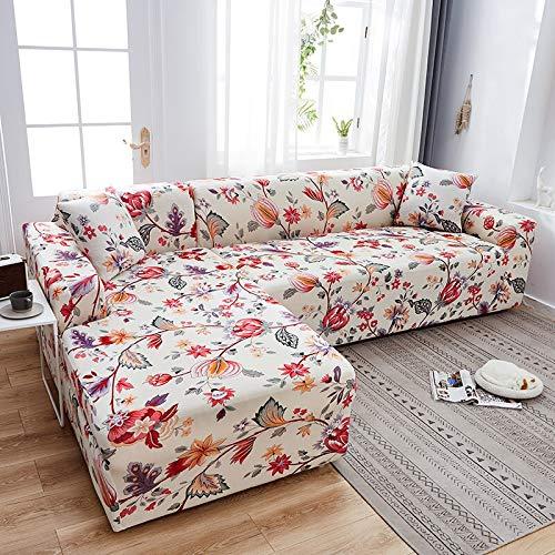 Fundas de sofá elásticas Impresas para Sala de Estar Funda de sofá Esquina en Forma de L Chaise Longue Sillón Sofá Funda A28 2 plazas