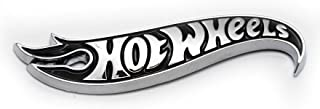 Hot Wheels Black Chrome Logo Side Fender Lid Hood Badge Decal Emblem