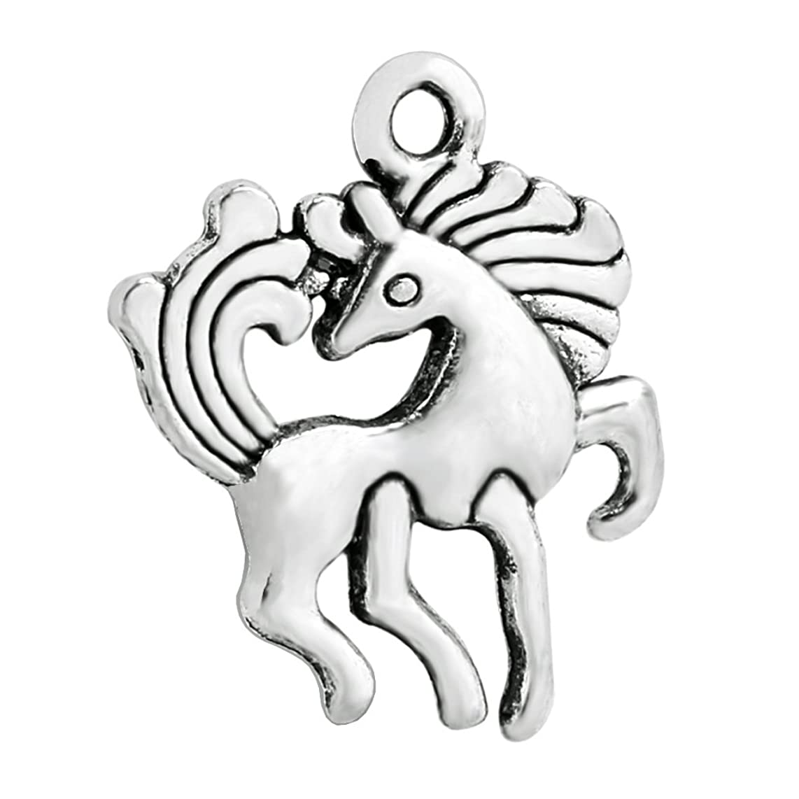 20 Pieces Unicorn Horse Magical Lucky Charm Reversible Findings Jewelry Pendant Necklace Making 19 X 15mm