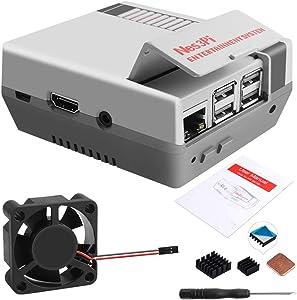 GeeekPi Retro Gaming Nes3Pi Case for Raspberry Pi 3 Model B/B+, Raspberry Pi 2B/3B/3B+ Case with Fan Raspberry Pi Cooling Fan Raspberry Pi Heatsinks for Raspberry Pi 2B/3B/3B+