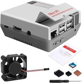 GeeekPi Retro Gaming Nes3Pi Funda para Raspberry Pi 3 Modelo B/B+, Raspberry Pi 2B/3B/3B+ Funda con ventilador de refriger...