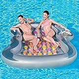 LYCIL Inflable Descansar Piscina Flotador,Doble Tumbona Inflable Balsa Multi-Color Fila Flotante Barco Cama De Agua Cojín De Aire De Agua A