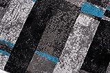 Tapiso JAWA Läufer Teppich Flur Brücke Meliert Modern Kurzflor Grau Schwarz Blau Viereck Streifen Muster Designer Wohnzimmer ÖKOTEX 100 x 560 cm - 4