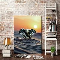 """インドの象の海キャンバス絵画ポスタープリント壁アート写真cuadrosリビングベッドルームオフィス通路家の装飾23.6"""" x 31.4""""(60x80cm)フレームレス"""