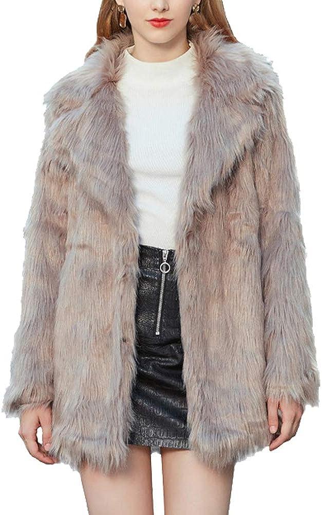 LIYT Women's Winter Warm Faux Fox Fur Coat Chic Jacket Cardigan Outerwear Tops