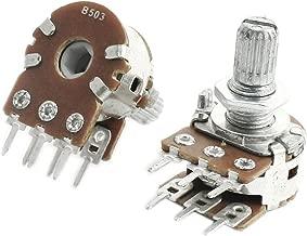 Uxcell 2Pcs B503 50K Ohm 8 mm Shaft PCB Mounted Linear Dual Potentiometer