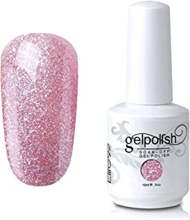 Elite99 Gel Nail Polish Soak Off UV LED Gel Lacquer Nail Art Manicure Glitter Apricot Pink 375 15ml