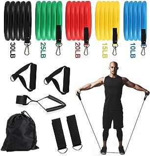 ROTEK 11pcs Bandas de Resistencia, Mujeres Hombres Gomas Elasticas Fitness Bandas de Gym para Yoga,Fitness,Deporte,Musculación,ABS Ejercicio,Pérdida de Peso,etc.