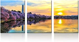 iK Canvs - 3 Piece Canvas Print Contemporary Art Washington Monument Cityscape Modern Wall Decor Cherry Blossom Trees Giclee Artwork Gallery Wrapped Wood Stretcher Bars Ready to Hang 12x16inchx3pcs