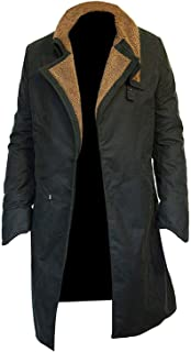 Flux Leather House Mens Ryan Gosling Runner 2049 Green Cotton Fur Trench Long Coat