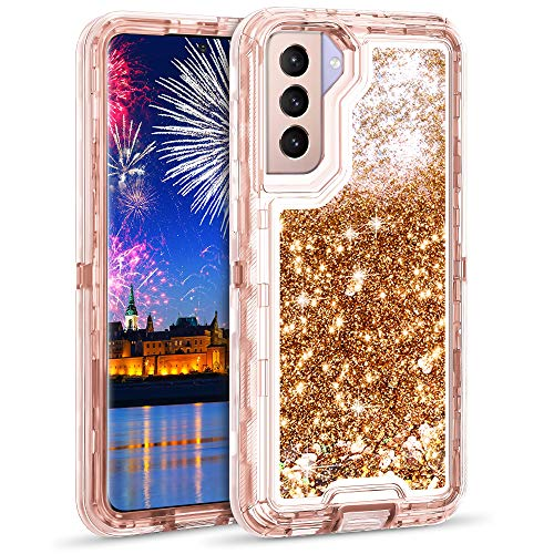 Wollony Case for Galaxy S21 5G Glitter Case Shinny Liquid Bling Quicksand 3 in 1 Heavy Duty Shockproof Protective Hard Bumper Soft Clear Rubber Cover for Samsung Galaxy S21 6.2inch Rose Gold