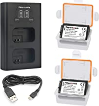 Newmowa NP-FW50 Replacement Battery (2-Pack) and Smart Dual Charger LCD Display for Sony NP-FW50 and Sony Alpha a3000,Alpha a5000,a6000,a6100,a6300,Alpha 7,a7,Alpha 7R,a7R,Alpha 7S,Cyber-Shot DSC-RX10