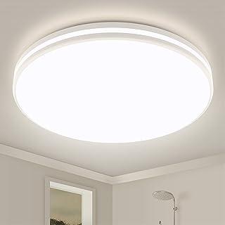 Lampe de salle de bain - 24 W 2250 lm - Plafonnier LED IP44 - Rond - Diamètre : 32 cm - Pour salle de bain - Cuisine - Bal...