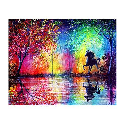 Zhouba DIY attraente colorato albero paesaggio cavallo resina 5D Diamond Painting Craft 40x 30cm, Colorful, taglia unica