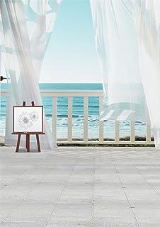 Seaside Landscape Backdrop 3x 5ft laeaccoビニールシン写真背景写真バックドロップHandrailホワイトカーテン床シーンfor Personal Portraits Lovers Girls 1( W ) × 1.5( H ) M Studio小道具