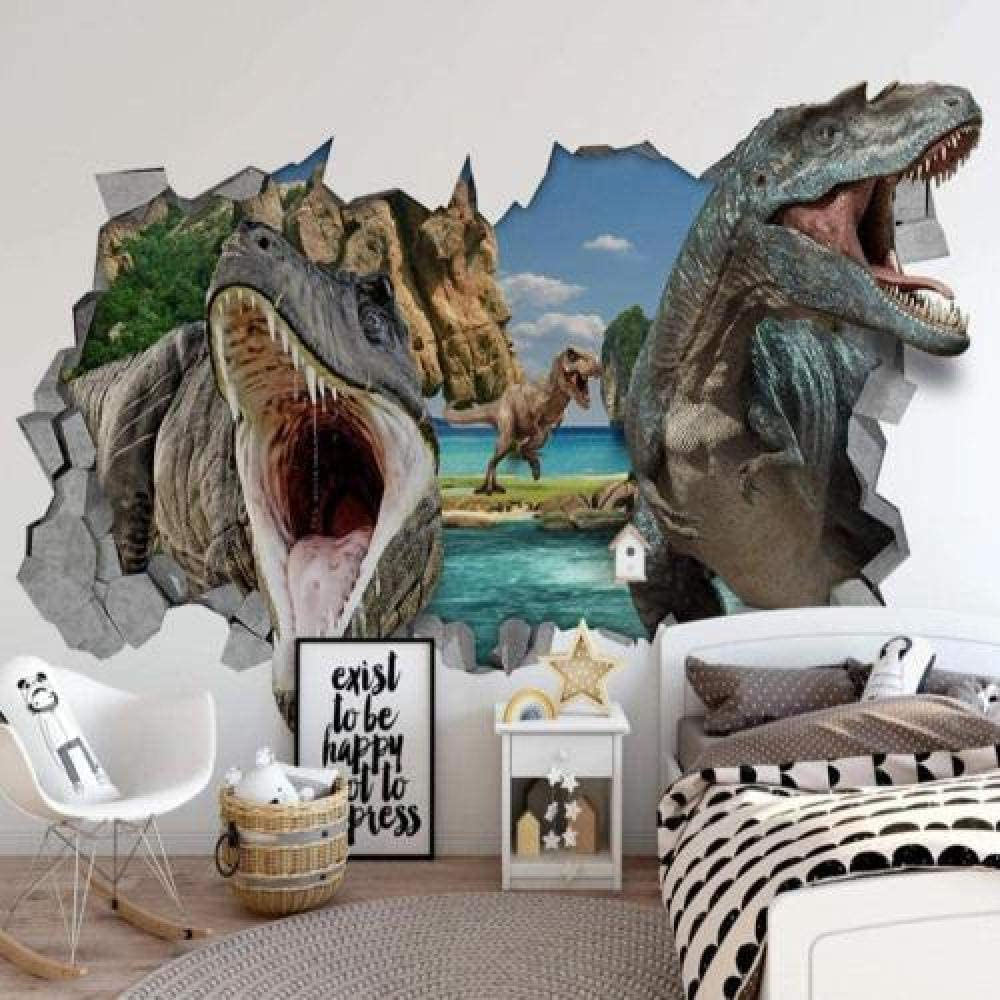 3D Modern Non-Woven Wallpaper Attention brand Broken Wa Wall In stock Pattern Dinosaur