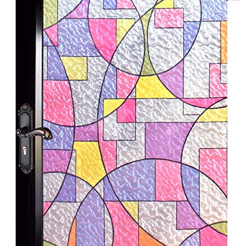 DUOFIRE Privacy Window Film Non-Adhesive Stained Glass Decorative Film Geometric Circle Removable Window Cling for Home Kitchen Bathroom (17.4 x 78.7in) 44.3X 200cm