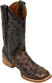 Men's Quincy Pirarucu Fish Print Boots Square Toe Handcrafted Brown