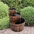 Worldrich 3 Tier Outdoor Garden Rustic Wood Barrel Waterfall Fountain with Pump