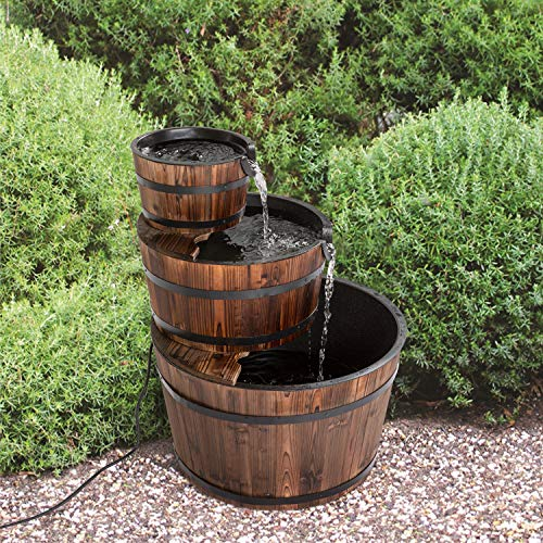 Worldrich 3 Tier Outdoor Garden Rustic Wood Barrel Waterfall Fountain with Pump