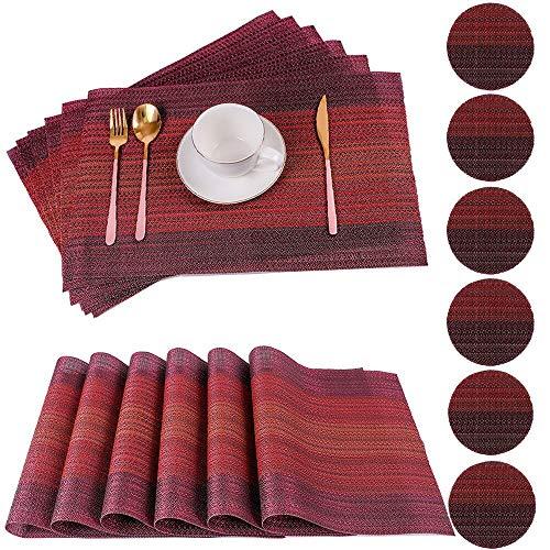PVC Placemats Set van 6 voor eettafel met 6 onderzetters Wasbare hittebestendige eettafelmatten Geweven vinyl Placemat Antislip keukentafelmatten Gemakkelijk schoon te maken (set van 6, rood)