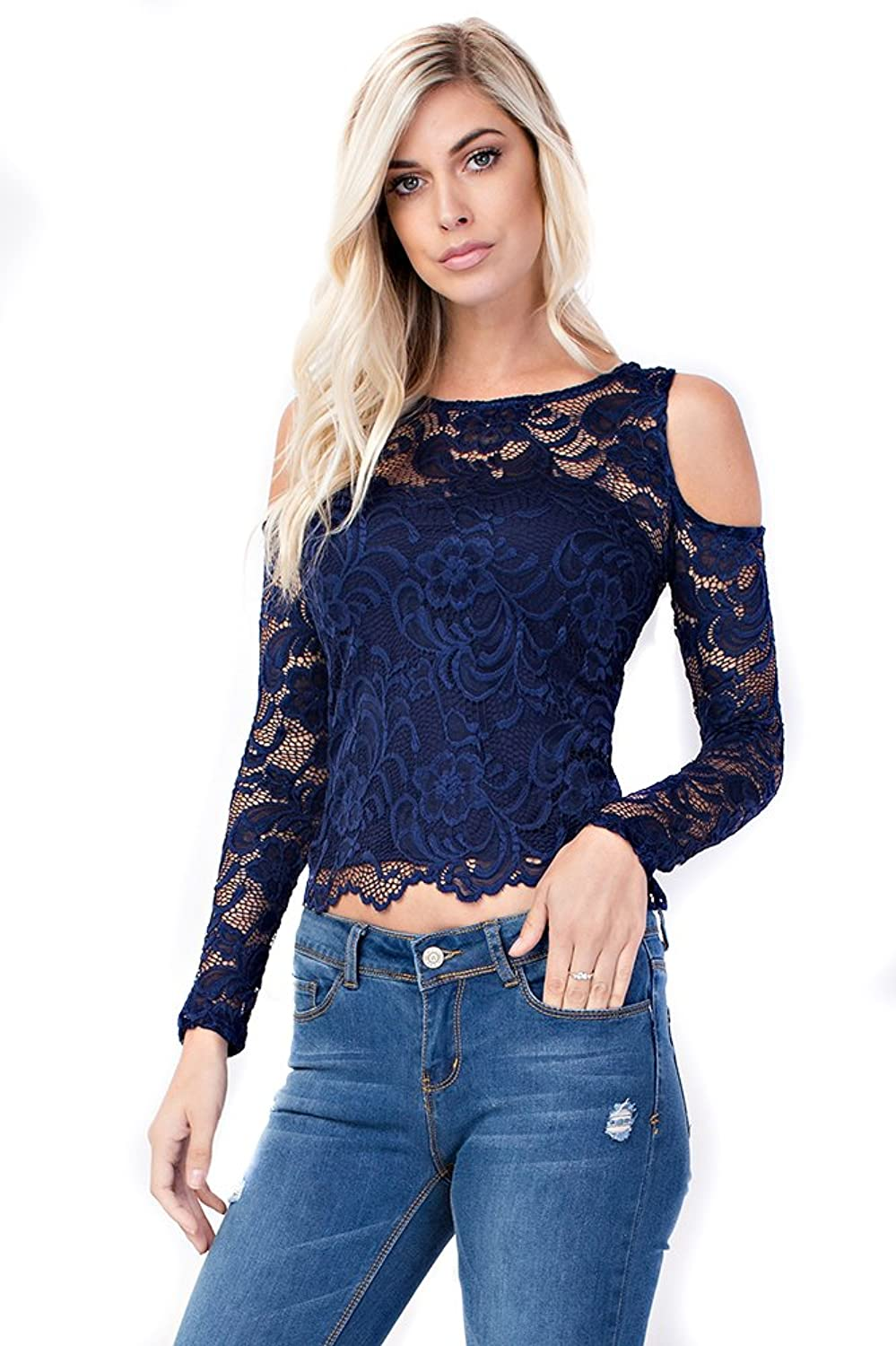 Allora Betsy Red Couture Women's Could Shoulder Lace Long Sleeve Top