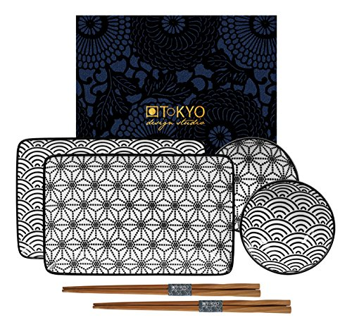 Tokyo Design Studio Nippon Black - Set da sushi in porcellana, in confezione regalo
