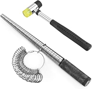 Accmor Ring Sizer Measuring Tool Including Stainless Steel Ring Mandrel US Size 0-13, Jewelry Hammer, Ring Sizer Guage for Jewelry Making