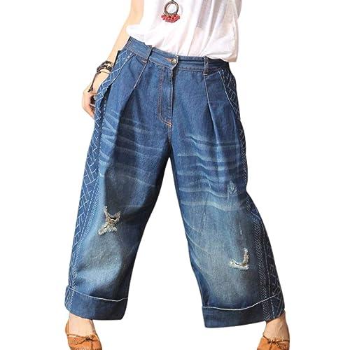 Etecredpow Boys Hole Distressed Comfortable Denim Classic-fit Pants Jeas
