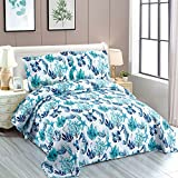Beach Quilt Set Full/Queen Size Ocean Coral Bedding Leaves Seaweed Bedspread Coastal Quilt Ocean Life Blue Seahorse Starfish Shell Quilt Summer Lightweight Reversible Coverlet Set Tropical Quilt