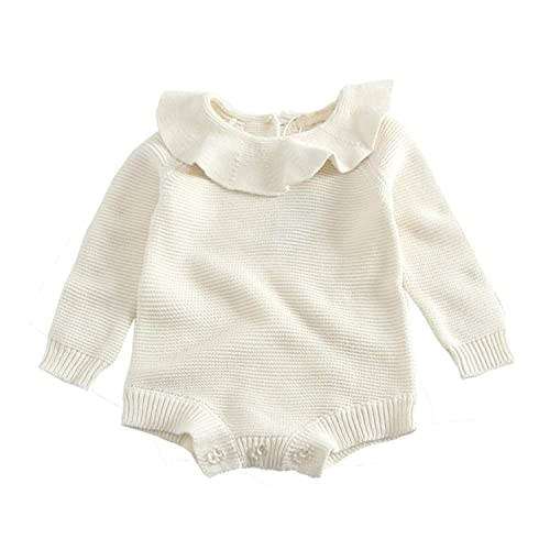 580dcf4cc66 GObabyGO Baby Girls Long Sleeve Doll Collar Knitted Sweater Rompers Jumpsuit