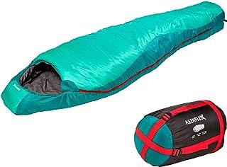 KeenFlex Saco de Dormir Tipo Momia para 3 Estaciones Extra cálido y Ligero, Compacto, Resistente al Agua y con Control de Calor avanzado – Ideal para Festivales o Hacer Camping