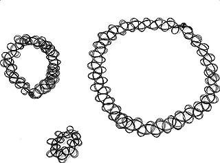 Bullidea 1x Retro Henna Vintage Stretch Tattoo Choker Elastic Necklace Ring Bracelet Jewellery Set Black
