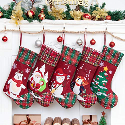 5 Pack Christmas Stockings(21inch) Embroidered Linen Applique Burlap Fireplace Hanging Christmas Ornament for Family Decorations Holiday Xmas Gift