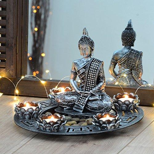 INtrenDU Buddha Dekoteller Silber mit Teelichthaltern und Deko-Steinen