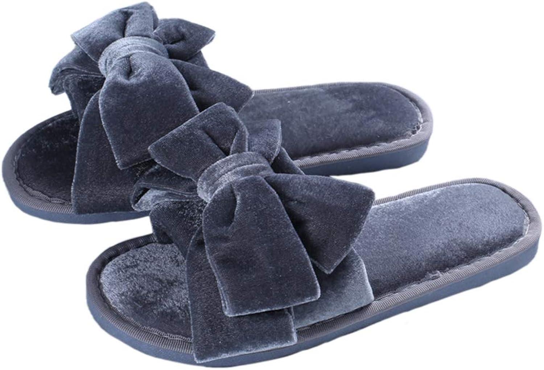 Nafanio Cute Winter Slippers Bowknot Furry Flip Flops Sweet Ladies Slip On Fur Slides Plush Flat Home shoes