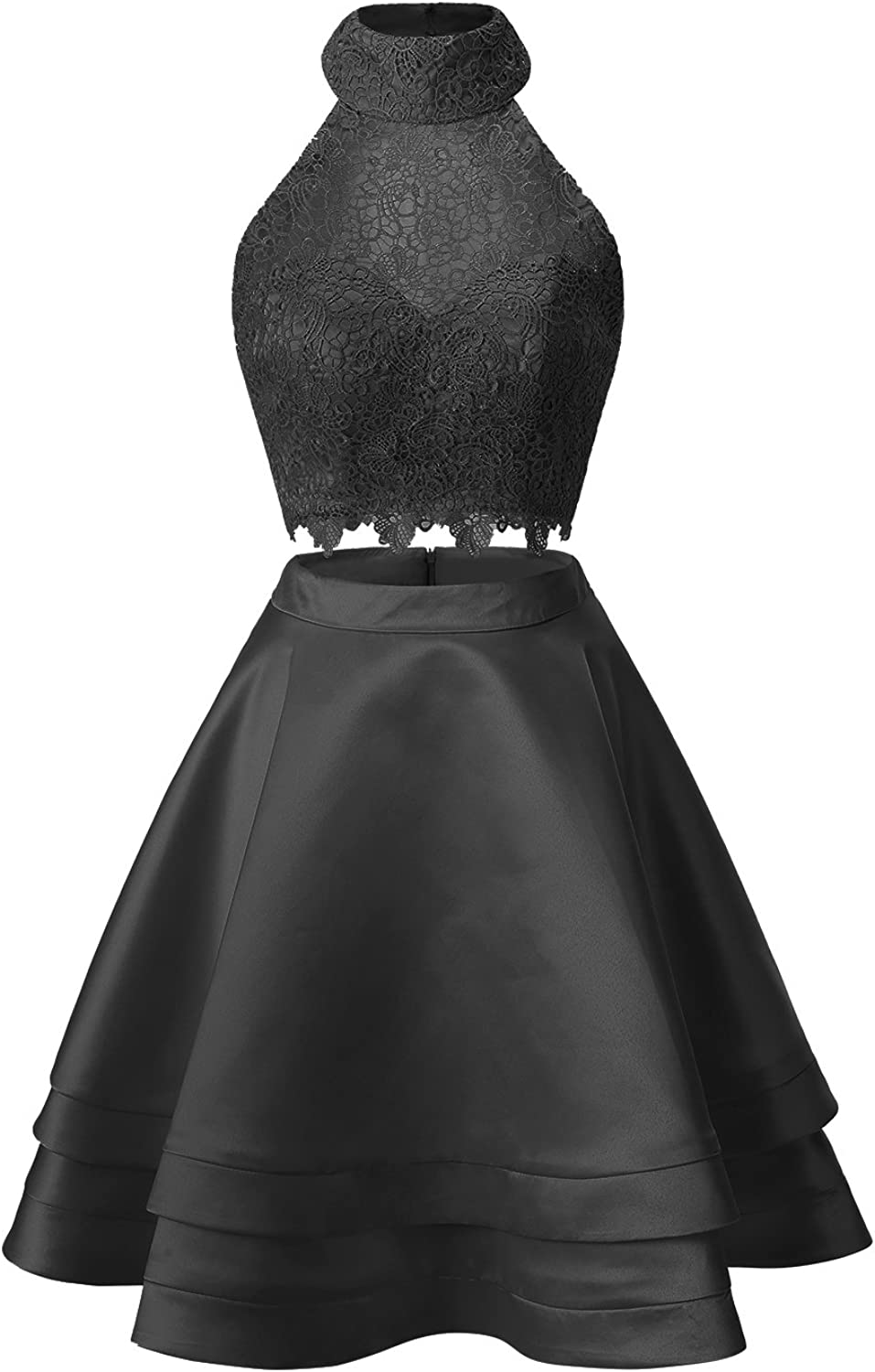 ALAGIRLS Two Piece Satin Short Prom Dresses High Neck Homecoming Cocktail Gowns