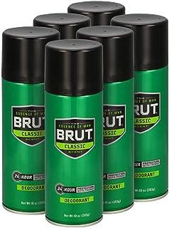 Brut Deodorant Spray, Classic, 10 oz (Pack of 6)