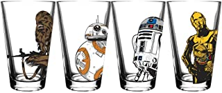 Star Wars Classic Pint Glass Set - Chewbacca, BB-8, R2-D2, C3-P0-16 oz. Glass Capacity - Perfect for Beer, Cocktails, or Soft Drinks