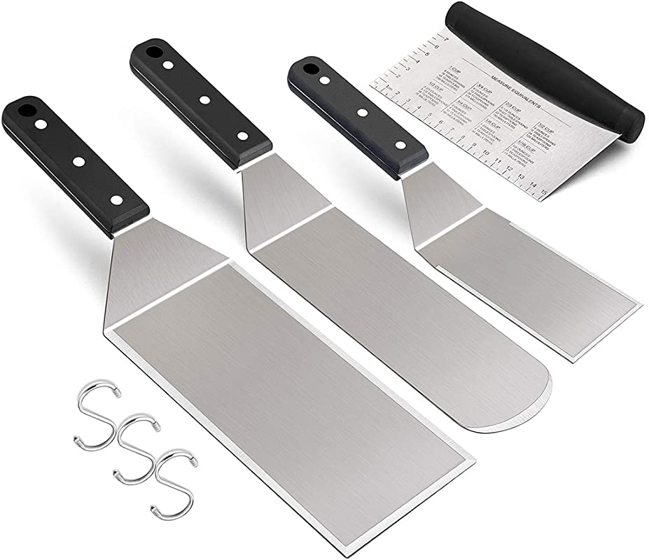Metal Spatula Set Of 4 Leonyo Stainless Steel Griddle Accessories Grill Spatula For Flat Top Teppanyaki BBQ Cooking Riveted Handle Dishwasher Safe S Hooks Attached