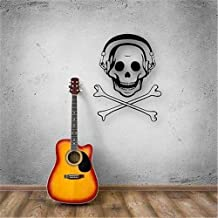 Jiualy Vinyl Wall Art Inspirational Quotes and Saying Home Decor Decal Sticker Jolly Roger Music Headphones
