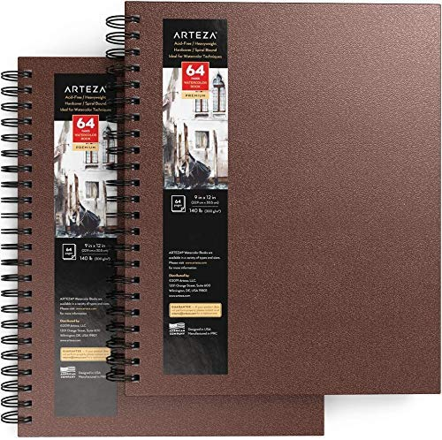 Arteza Watercolor Sketchbook, Pack of 2, 9 x 12 Inches, 32 Sheets — 64 Pages Each, Brown Cover, Spiral-Bound 140-lb Drawing Pad, Art Supplies for Watercolor Painting, Sketching, and Journaling